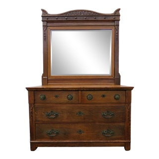 1900s Antique Victorian Tiger Oak Hand Carved Dresser With Mirror For Sale