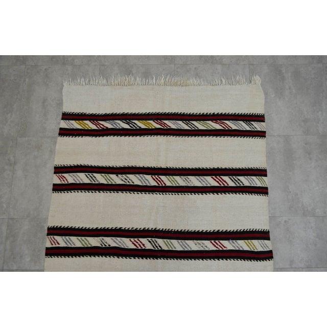 Vintage Natural Stripe Turkish Cotton Kilim Rug - 4′3″ × 8′ - Image 6 of 9