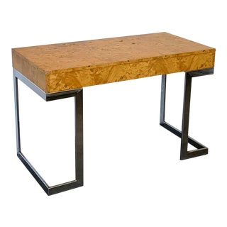 Mid Century Modern Milo Baughman Olivewood Burl and Chrome Desk For Sale