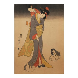 Late 19th C. Woodblock Print by Kitagawa Utamaro For Sale