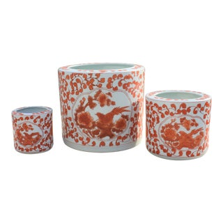 Trio of Chinese Coral & White Pots / Planters