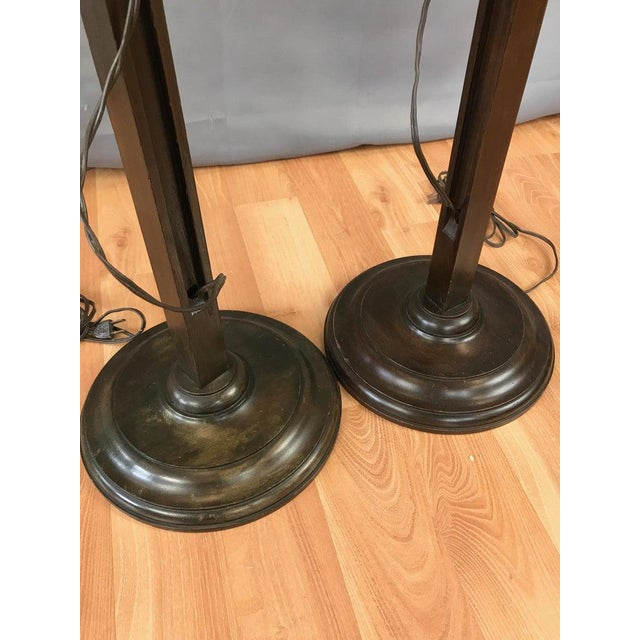 Pair of Frances Elkins Ratcheted Adjustable Height Mahogany Floor Lamps, 1940s For Sale - Image 12 of 13