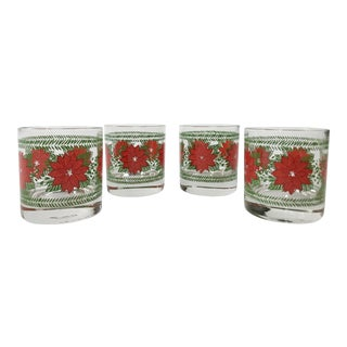 Poinsettia Lowball Cocktail Glassware, Set of 4 For Sale