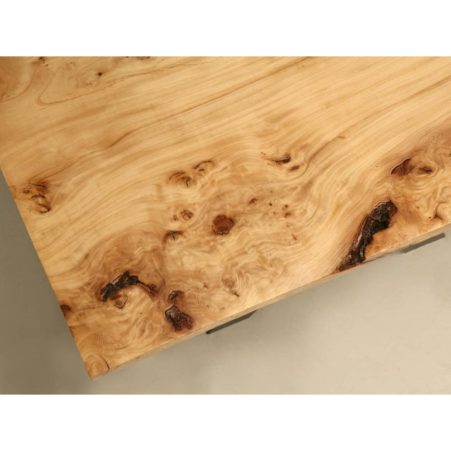 French Burl Elm Slab Dining Table, or Desk For Sale - Image 11 of 11