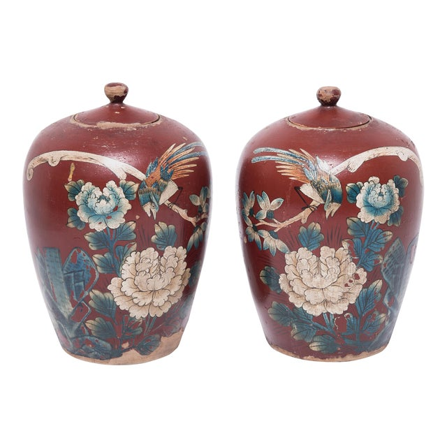 Chinese Painted Oxblood Jars With Phoenix & Peonies - a Pair For Sale