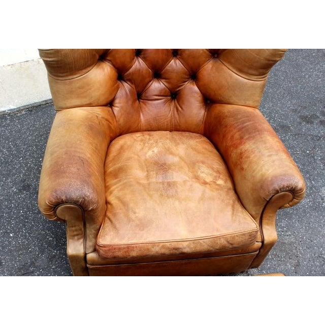 """1980s 1980s Vintage Ralph Lauren Tufted Leather """"Writers"""" Chair and Ottoman For Sale - Image 5 of 6"""