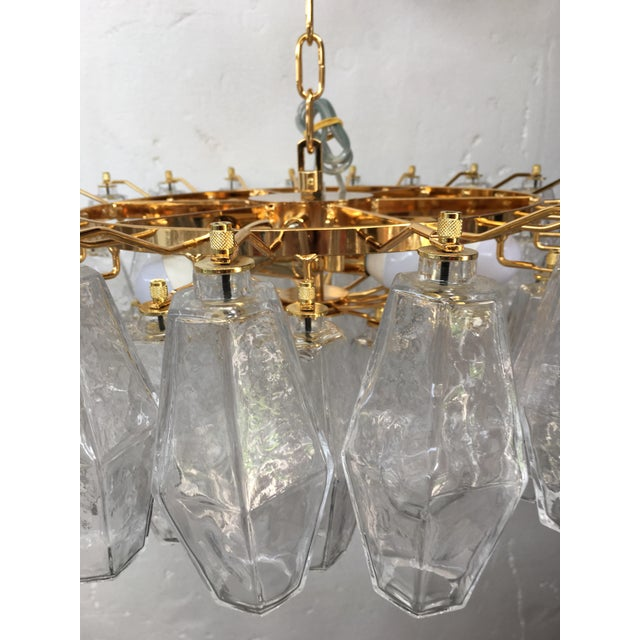 Murano Clear Poliedro Murano Glass with 24K Gold Frame Sputnik Chandelier For Sale - Image 4 of 10