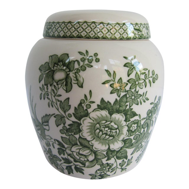 English Mason's Green Flower Ironstone Ginger Jar For Sale
