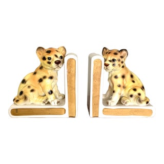 1960s Lefton Hand Painted Porcelain Wildlife Tiger Cubs Bookends - a Pair For Sale