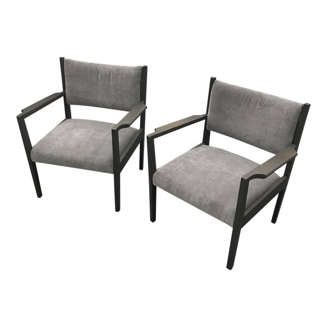 1950s Jens Risom Gray Velvet Armchairs - a Pair For Sale