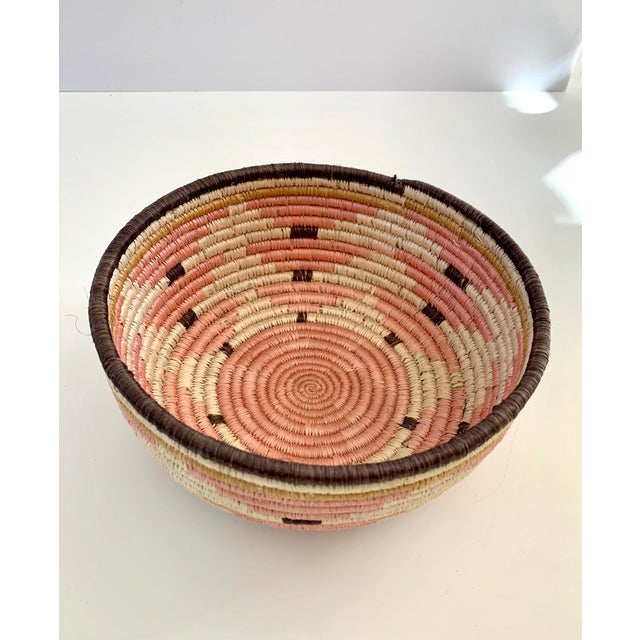 Boho Chic Pale Blush Sozi Catch All Woven Bowl For Sale - Image 3 of 10
