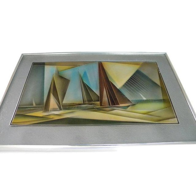 Blue 1976 Tom Gall San Francisco Bay Aluminum Etched and Airbrushed Painting For Sale - Image 8 of 10