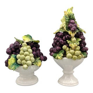 Mid-Century Purple and Green Grapes Fruit Topiaries - Set of 2 For Sale