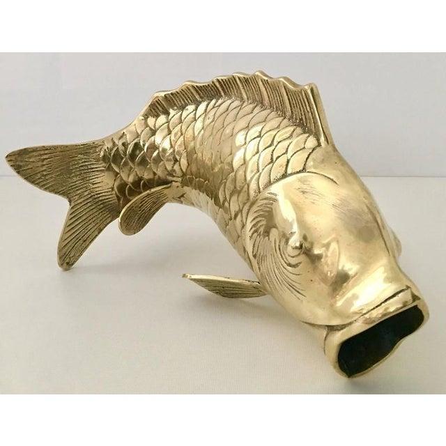 Mid-Century Large Solid Brass Koi Fish Sculpture Vase