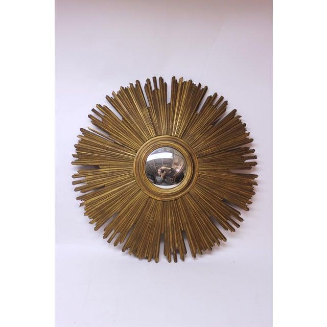 Glass Gilt Sunburst Convex Mirror For Sale - Image 7 of 7