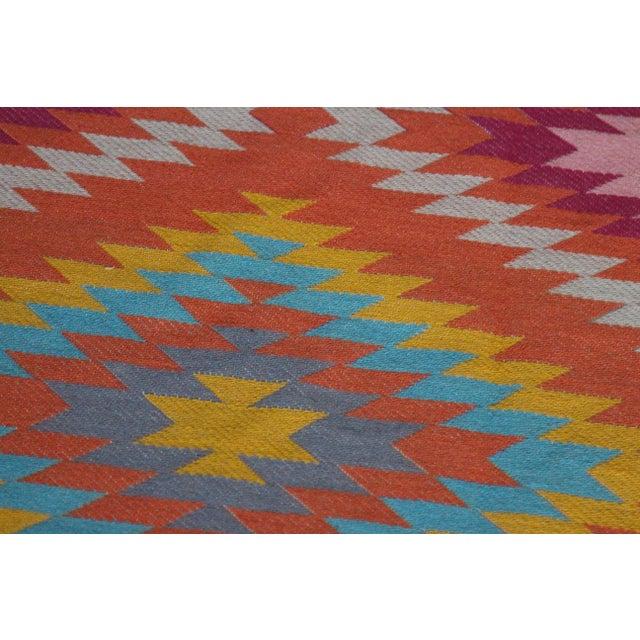 Rainbow Flat Weave Diamond Turkish Wool Kilim Rug - 4' x 6' - Image 9 of 12