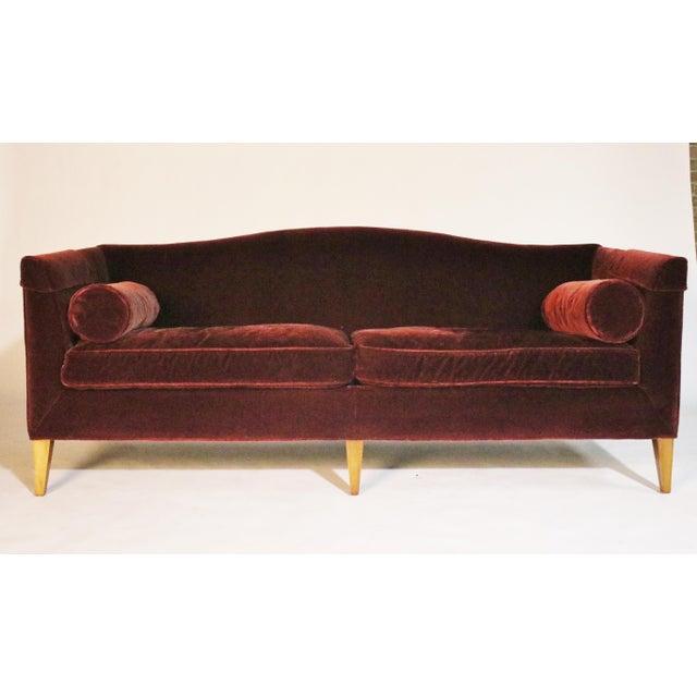 Baker Archetype Model #2386-80 Red Merlot Mohair Sofa For Sale - Image 11 of 11