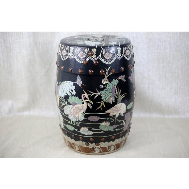 Vintage Black Garden Stool With Cranes and Lotuses For Sale - Image 12 of 12