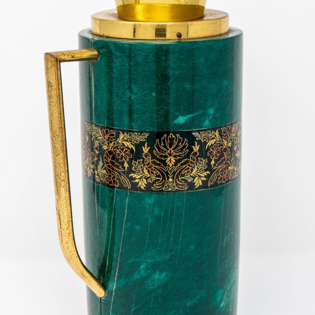 Italian Green Leather and Brass Decanter by Aldo Tura for Macabo For Sale - Image 11 of 12