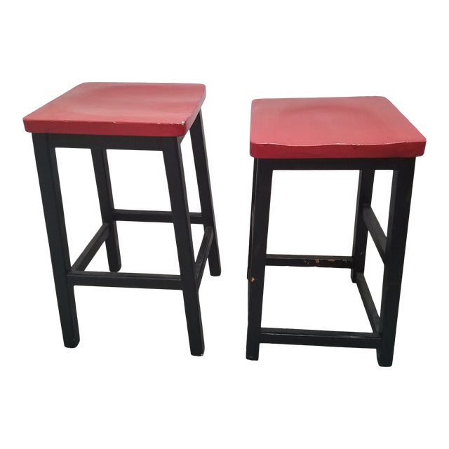 Two Vintage English Wooden Stools With Red Tops For Sale