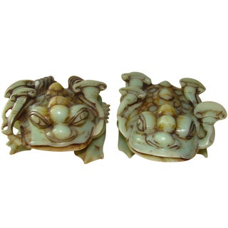 Hand-Carved Jade Toad Bookends For Sale