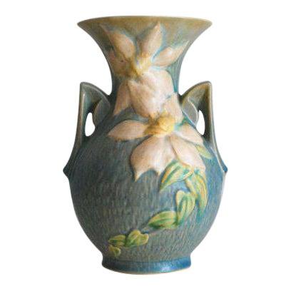 1940s Roseville Blue Clematis Vase 109 9 Chairish