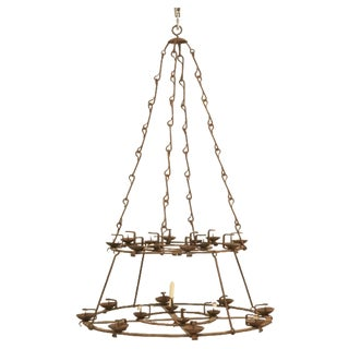 French Hand-Forged Iron Twenty-Four-Light Two-Tier Chandelier, circa 1890 For Sale