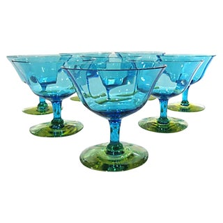 Vintage Blue & Green Uranium Glasses - Set of 8