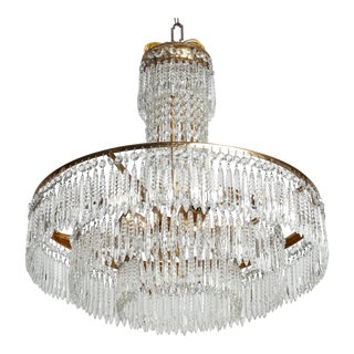 French Deco Hand-Cut Crystal and Brass Chandelier For Sale