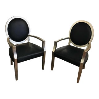 Pair of Silver Leaf Chairs Att. To John Hutton for Donghia For Sale