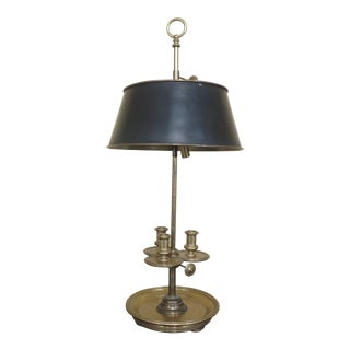 Chapman Black Shade Brass Table or Desk Lamp For Sale