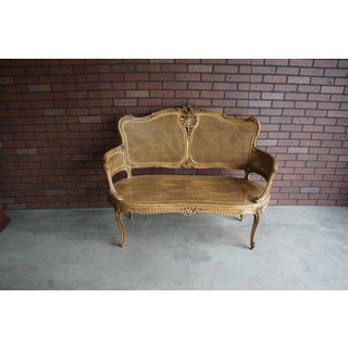 Early 20th Century Antique French Carved Cane Settee Preview