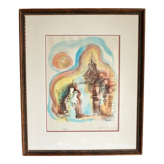 "Mid Century Modern "" Caesarea "" '75 Abstract Rita Gombinski, Hand Colored Artist Proof Lithograph Signed For Sale"