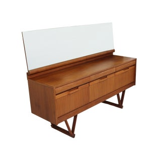 1960's Teak Dresser or Credenza With Mirror For Sale