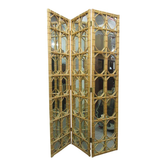 Excellent 1960s 3 Panel Rattan & Mirror Floor Screen Room Divider ...