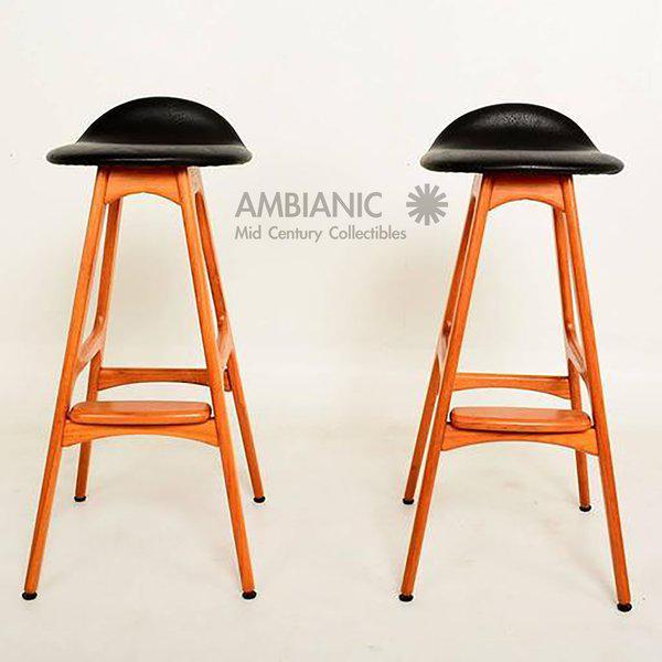 distinguished danish mid century modern erik buck teak bar stools
