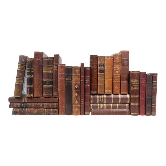 Scandinavian Leather Bound Books S/25 For Sale