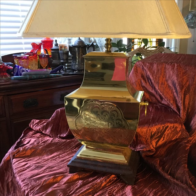 Mid-Century Modern Asian Brass Table Lamp - Image 4 of 11
