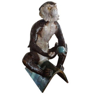 1920s Antique French J. Filmont Tin Glazed Terra Cotta Monkey For Sale