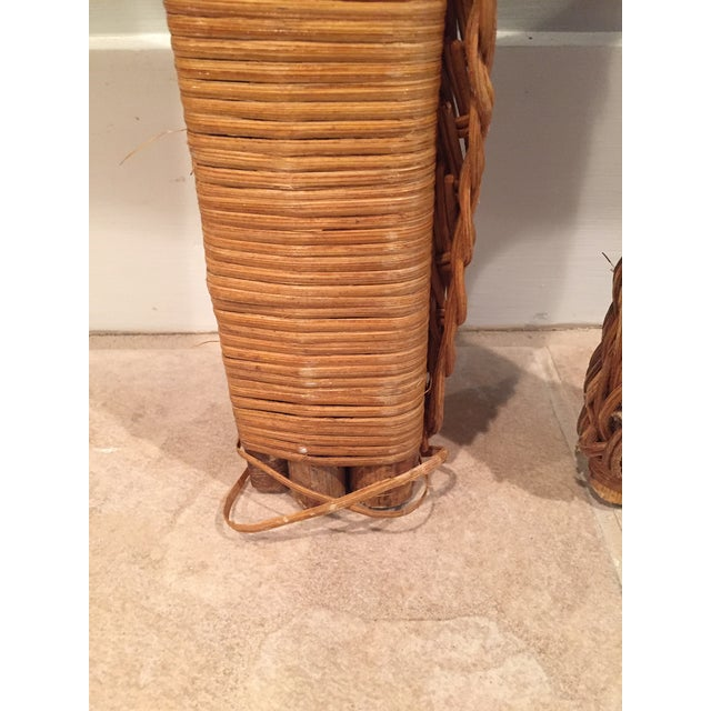 1960s 1960s Boho Chic Twin Wicker Rattan Headboards - a Pair For Sale - Image 5 of 8
