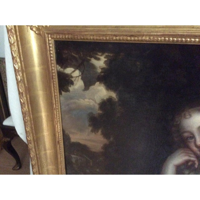Antique Painting of a Young Woman For Sale - Image 4 of 11