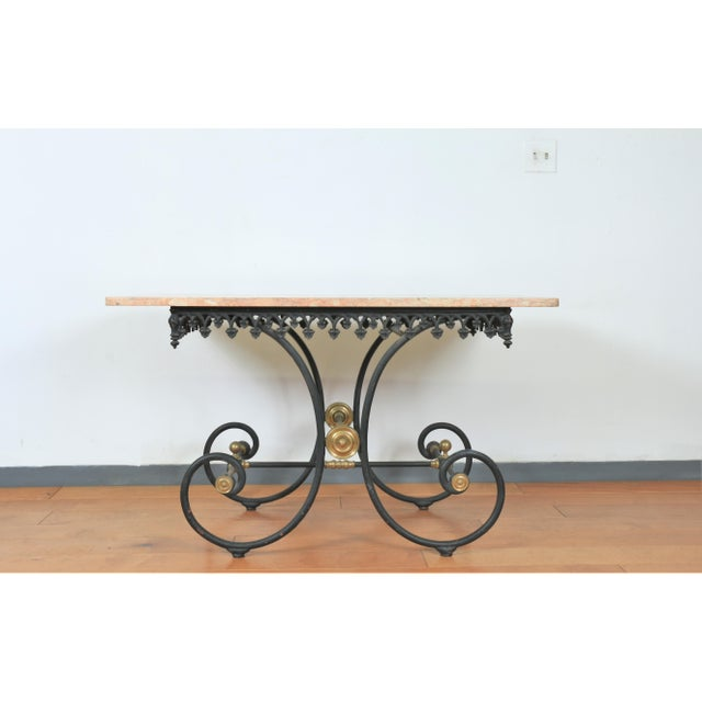 Wrought Iron & Marble Pastry Table For Sale In Los Angeles - Image 6 of 8