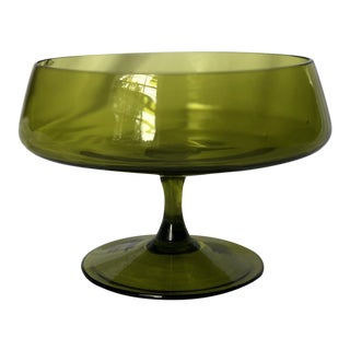 Vintage Green Glass Compote For Sale