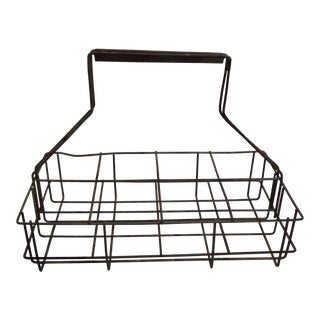 Antique Metal Wire 8 Bottle Carrier or Holder For Sale