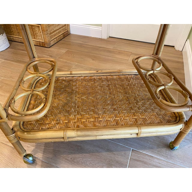 1970s Vintage 1970s Boho Chic Bamboo Rattan Bar Cart For Sale - Image 5 of 10