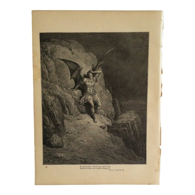 """Antique Paradise Lost Print, """"Which Way Should I Fly"""", Circa 1890 For Sale"""