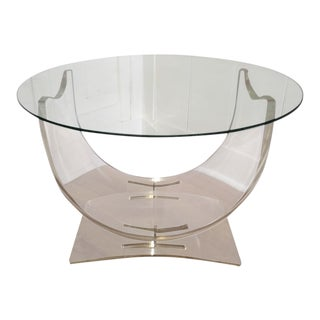 1970s Hollywood Regency Lucite & Glass Table