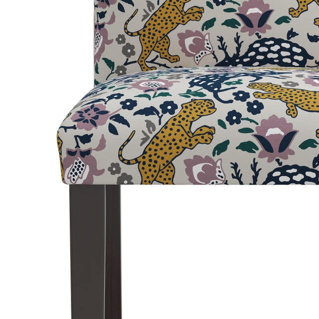 Not Yet Made - Made To Order Dining Chair in Leopard Mustard Plum Fabric For Sale - Image 5 of 8