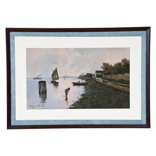 Venetian Lagoon Watercolor Painting For Sale