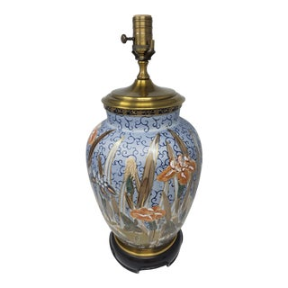 Vintage Wildwood Porcelain Handpainted Floral Table Lamp For Sale